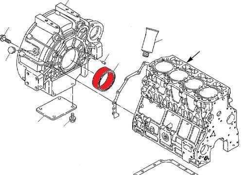 Gufero klikové høídele motoru Komatsu