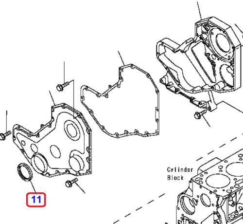 Gufero klikové høídele motoru pøední Komatsu